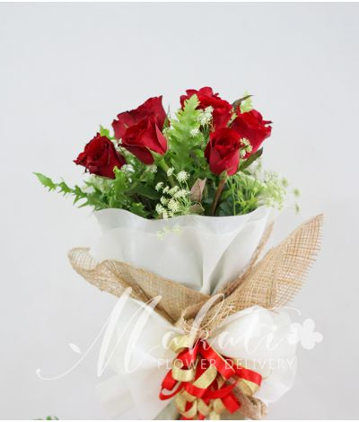 1 Dozen Red Roses (Round Bouquet)