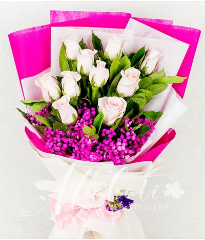 10 Imported Pink Roses in A Bouquet