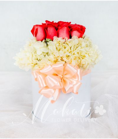 A Round Box of Dozen Pink Roses with Hydrangea