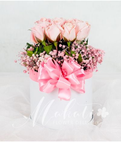 Pretty Pink Roses in a Round Box