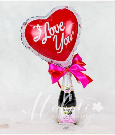 I Love You Heart Balloon with Wine