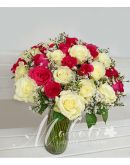 2 Dozen Red and 2 Dozen White Roses in a Vase