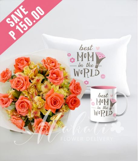 1 Dozen Peach Roses with Mug and Pillow for Mom