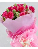 1 Dozen Pink Roses with Alstroemeria