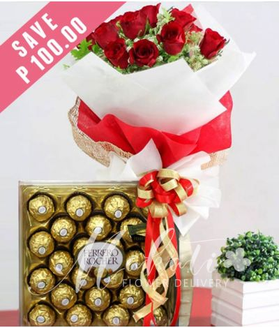 1 Dozen Red Roses with 24 pcs. Ferrero