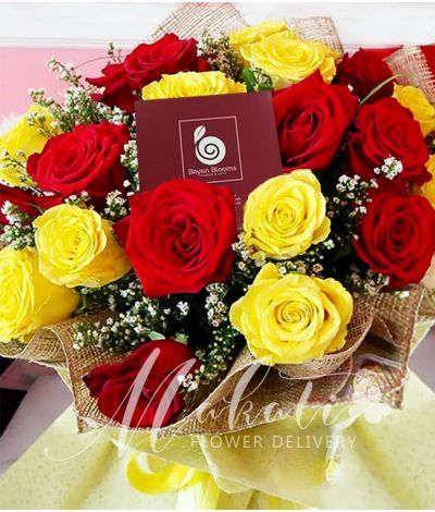 1 Dozen Red and 1 Dozen Yellow Ecuadorian Roses