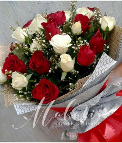 1 Dozen Red and 1 Dozen White Roses
