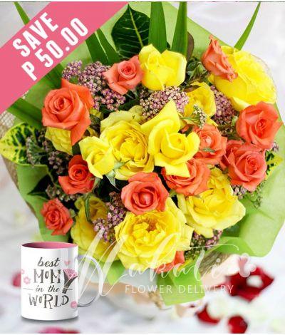 1 Dozen Yellow and 1 Dozen Peach Roses with Mug for Mom