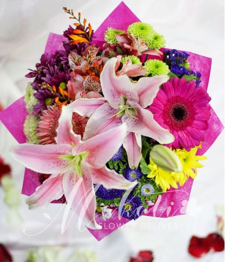 2 Stargazers with Mixed Colorful Flowers