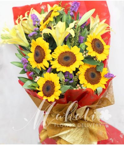 1 Dozen Sunflowers and 16 White Lilies