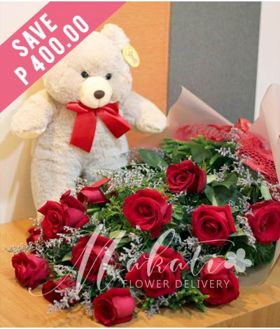 1 Dozen Ecuadorian Red Roses with Bear
