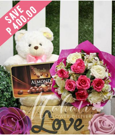 1 Dozen Pink and White Roses with Bear and Alfredo Almond Milk Chocolate