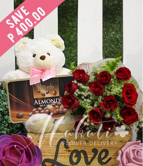 1 Dozen Red Roses with Bear and Alfredo Almond Milk Chocolate