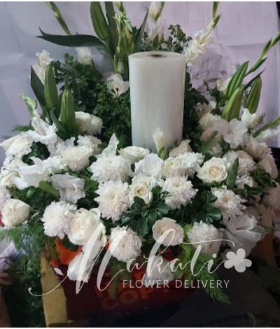 Purity White Urn Flower Arrangement