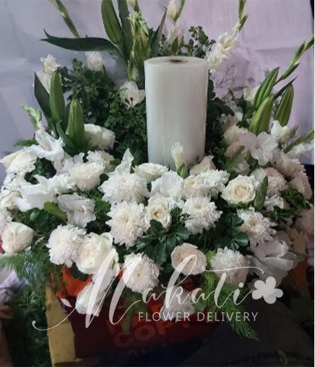 Purity White Urn Flower Arrangement