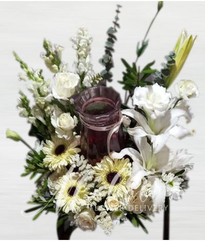 Beautiful Mixed White Urn Flower Arrangement