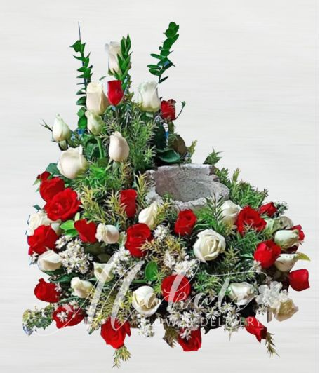 Elegant Red and White Roses Urn Flower Arrangement