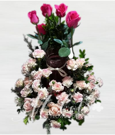 Gorgeous Pink Roses Urn Flower Arrangement