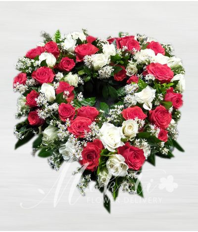 Pretty Red and White Roses Urn Flower Arrangment
