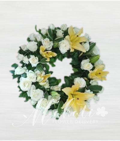 Sincerity White and Yellow Urn Flower Arrangement