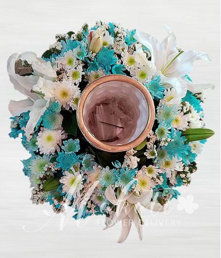 White and Sprayed Blue Urn Flower Arrangement