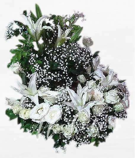 White Roses Urn Flower Arrangement