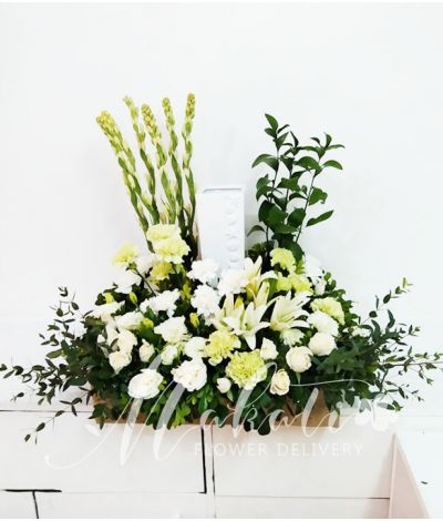 Sincerity White and Green Urn Flower Arrangement