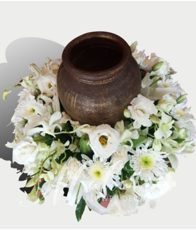 Sincerity White Urn Flower Arrangement
